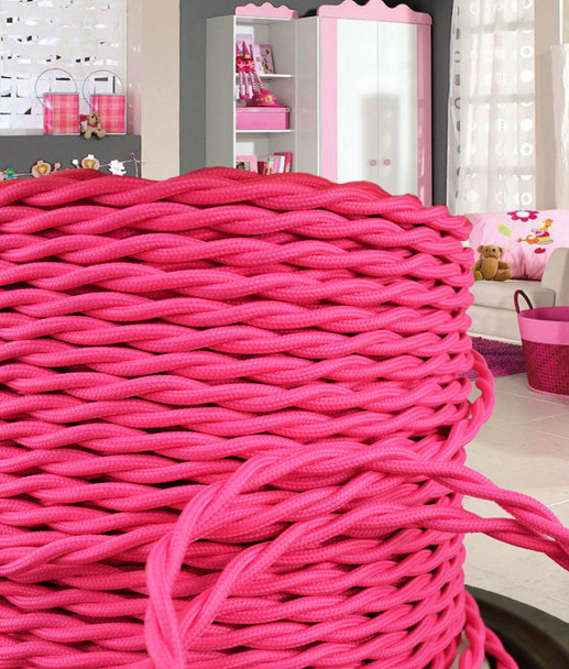 Pink Cloth Covered Vintage Wire