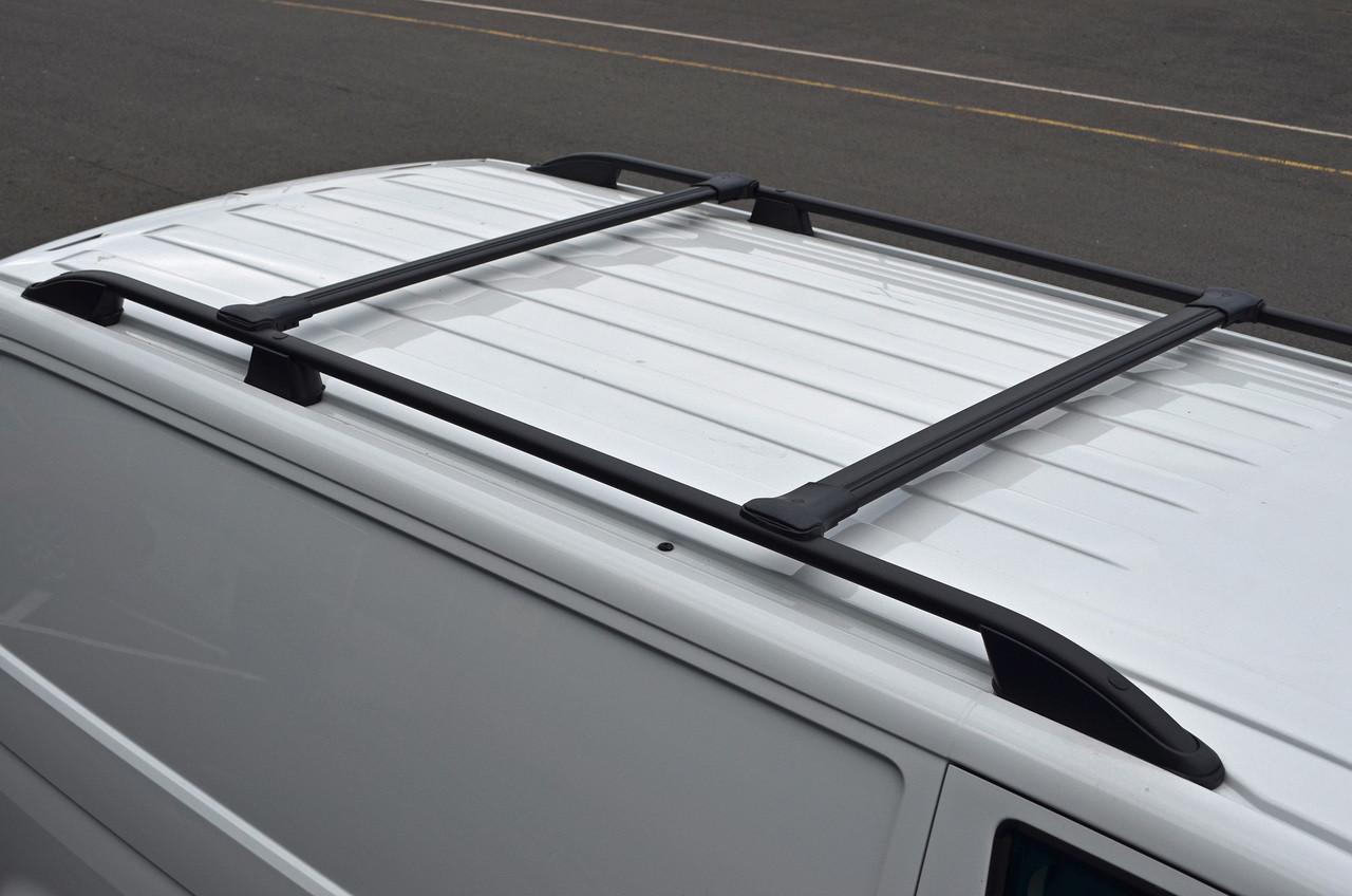Black Alu Cross Bar Rail Set For Roof Side Bars To Fit
