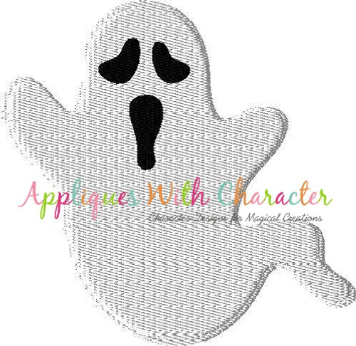 Ghost Filled Stitch Embroidery Design