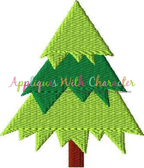 Christmas Tree Filled Stitch Embroidery Design