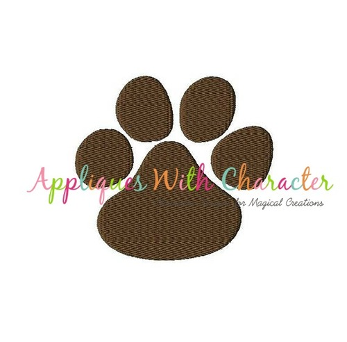 Paw Print Filled Stitch Embroidery Design