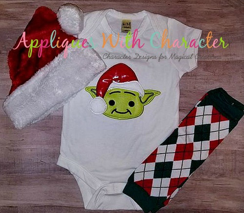 Yoda Star Battles with Santa Hat Applique Design