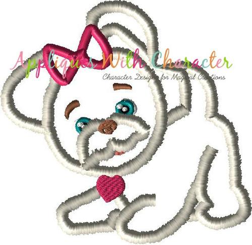 Furry Dog Applique Design
