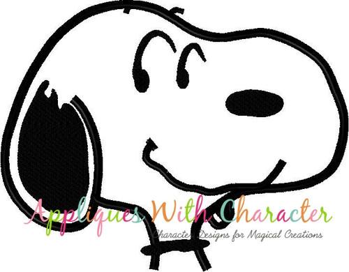 Peanuts White Dog Bust Applique Design