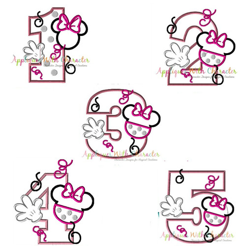 Miss Mouse One Two Three Four Five Set Applique Design