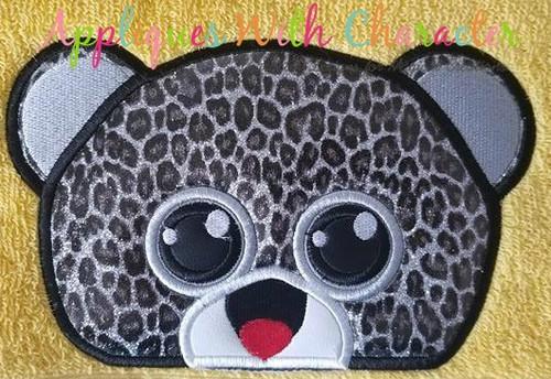 Beanie Boo Leopard Peeker Applique Design