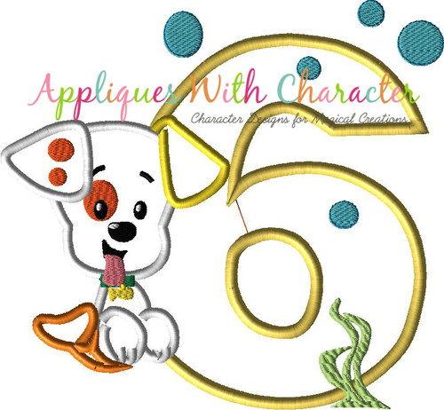 Bubble Puppy SIX Applique Design