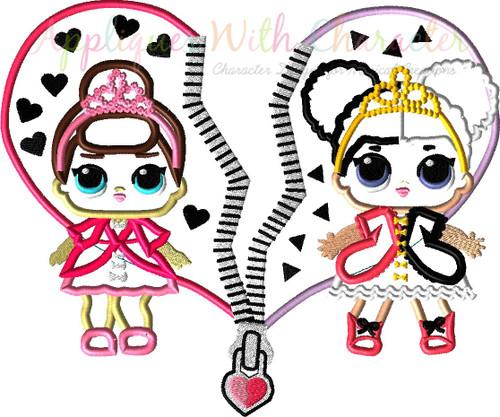 Split Heart with Heartbreaker and Fancy Doll Applique Design