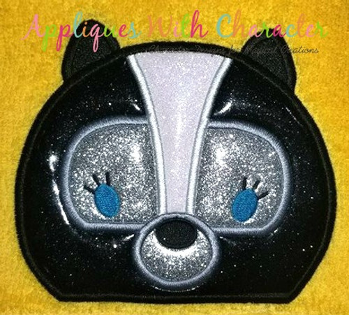 Bambie Flower Skunk Peeker Applique Design