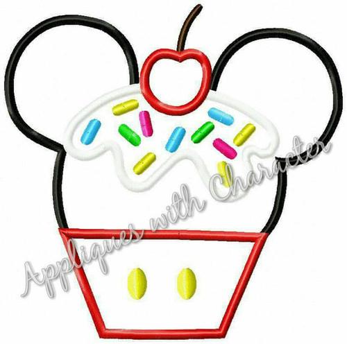 Mr Mouse Cupcake Applique Design