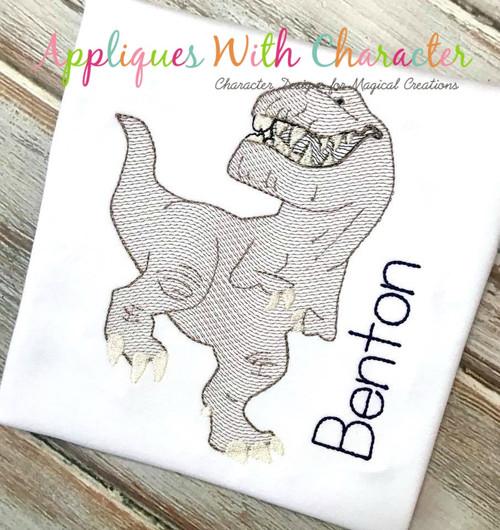 Butch Good Dinosaur T- Rex Bean Stitch Design
