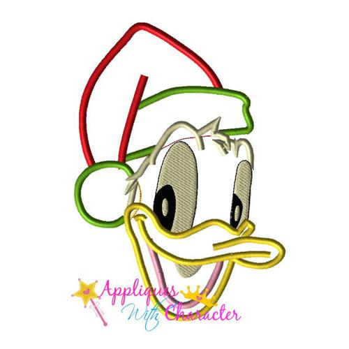 Don Duck Santa Face  Applique Design