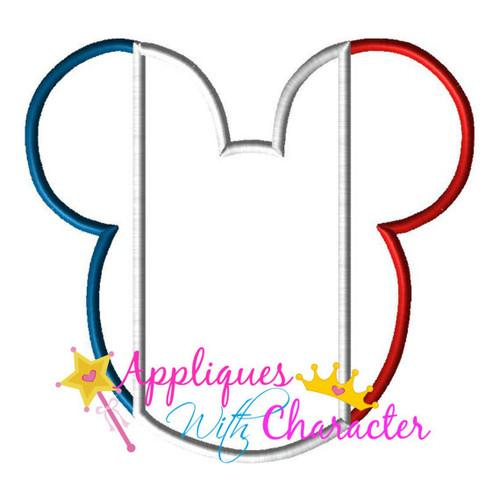 French France Flag Mr Mouse Head Epcot  Applique Design