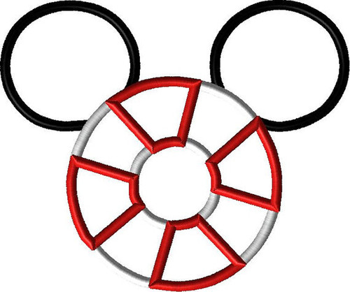 Life Preserver Cruise Mr Mouse Ears   Applique Design