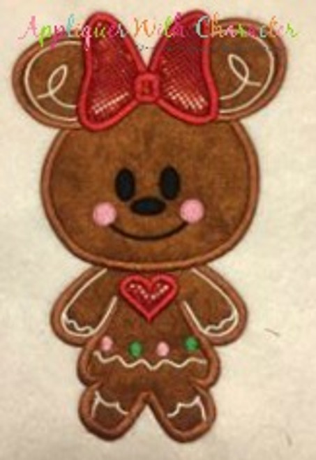 Gingerbread Minny Cookie Applique Design