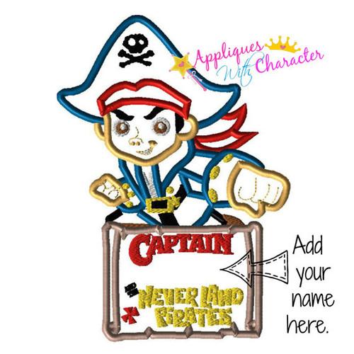 Boy Pirate Applique Design