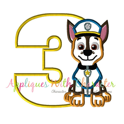 Pup Patrol Chasie Three Applique Design