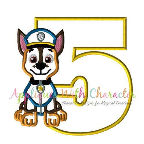 Pup Patrol Chasie Five  Applique Design