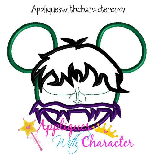 Hulk Mr Mouse Head Applique Design