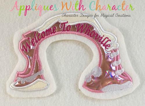 Grinchy Whoville Sign Applique Design