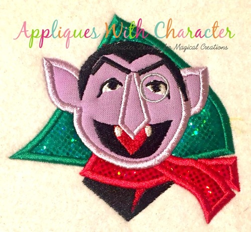 Christmas Count Dracula Applique Design