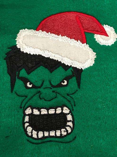 Christmas Green Hulky Hero Applique Design