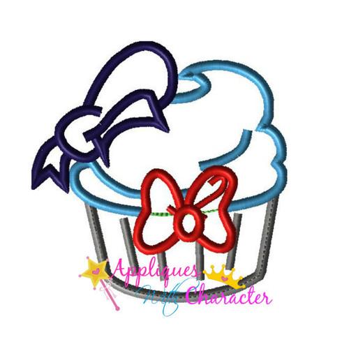 Disney Inspired Donild Duck Cupcake Applique Embroidery Machine Design