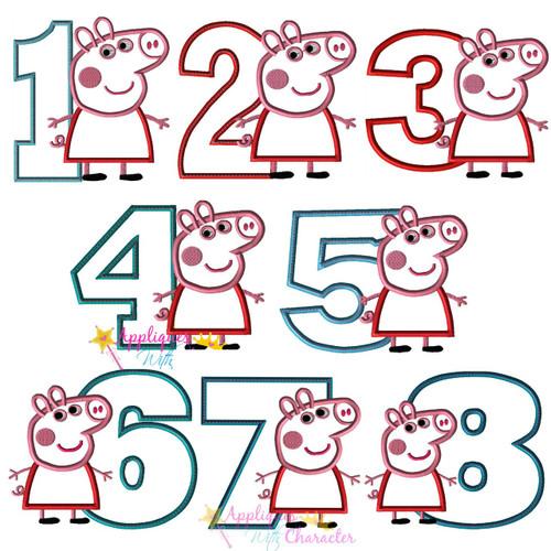 Pepper Pig Number 1-8 Applique Design Set