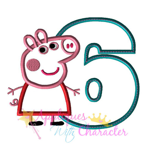 Pepper Pig Six Applique Design