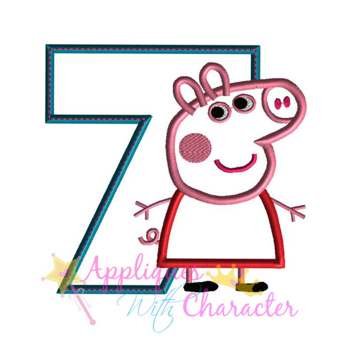 Pepper Pig Seven Applique Design