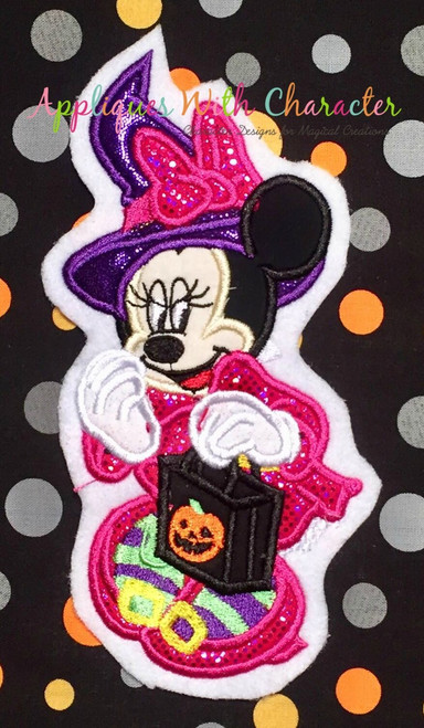 Miss Mouse Witch Halloween Applique Design