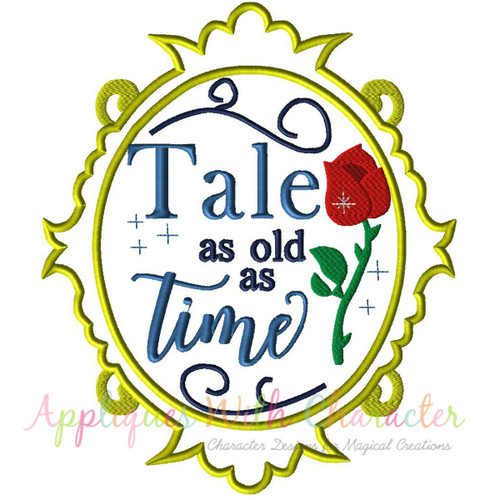 Beauty Bella Exclusive Tale As Old As Time Mirror Applique Design