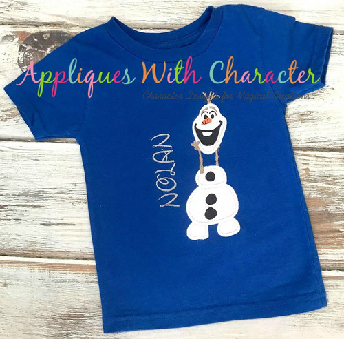 Frozen Olaf Snowman Holding Head Applique Design
