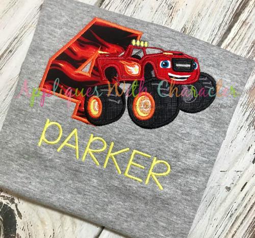 Blaze Monster Truck Four Applique Design