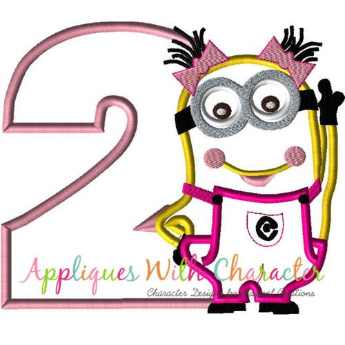 Minione Girl Two Applique Design