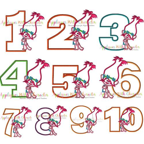 Pop Troll Number Applique Design Set