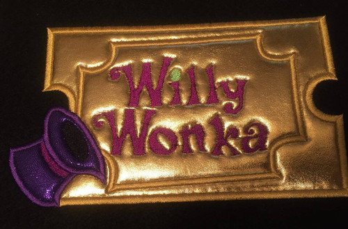 Willie Wonky Golden Ticket Applique Design