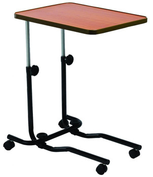 Overbed table With 4 Castors - Adjustable, Tilting, & Laminated.