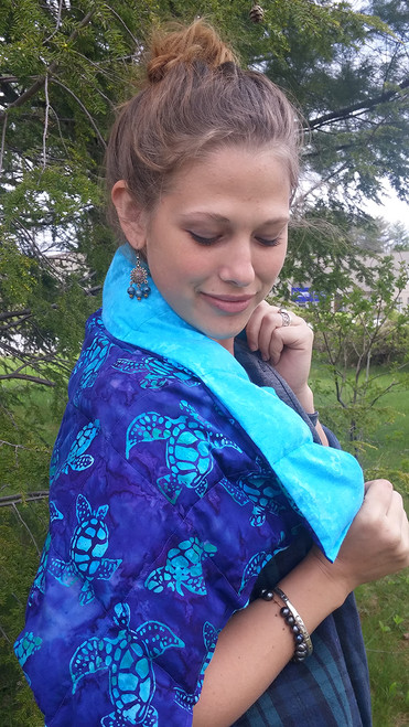 Cotton Batik Turtle, Aqua Flannel Back