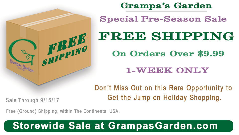 FREE SHIPPING SALE - Through 9/15/17