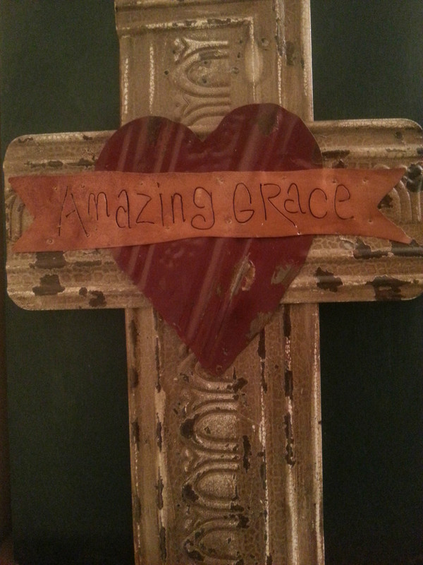 "Vintage ceiling tin ""Amazing Grace"" cross"
