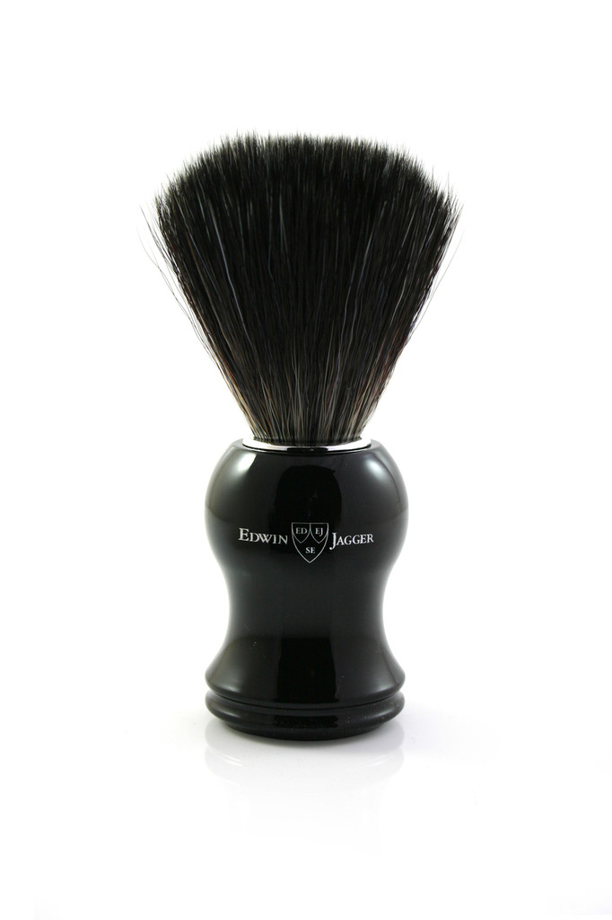 Edwin Jagger 21P36 Synthetic Shaving Brush - Black / Ebony | Agent Shave