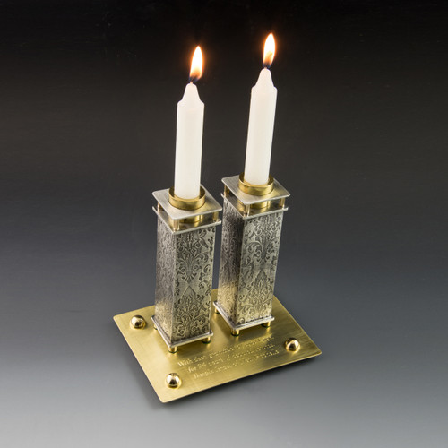 Commemorative Candle Holders with Brass Tray