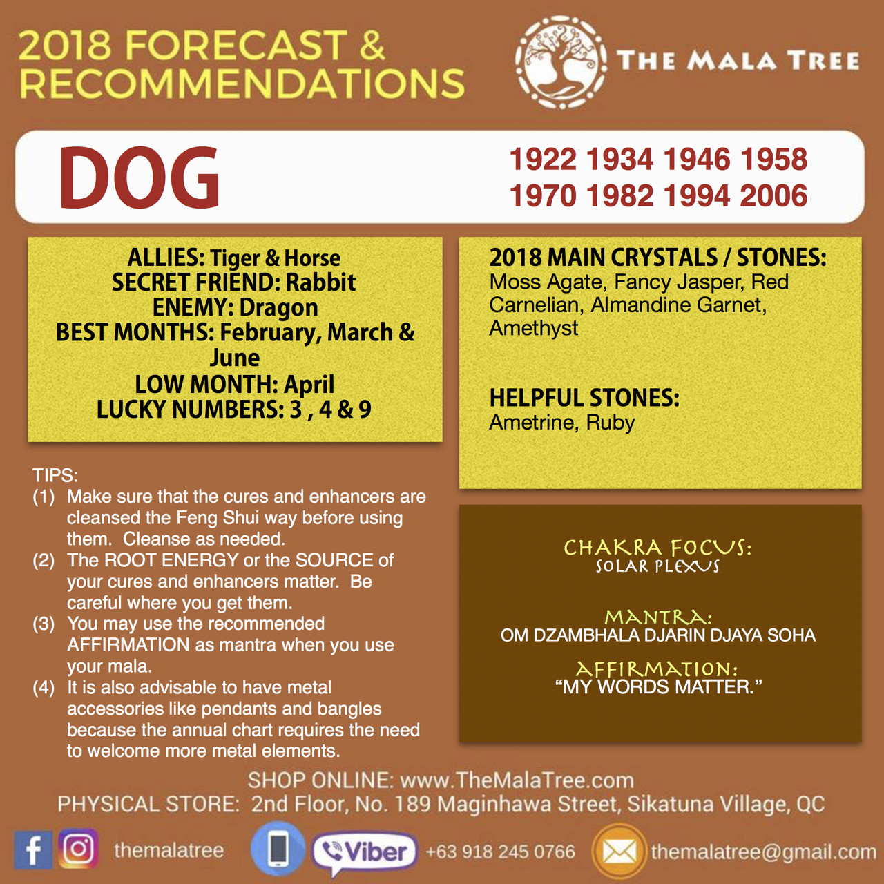 SHOP - 2018 FENG SHUI CRYSTALS & FORECAST - Year of the DOG