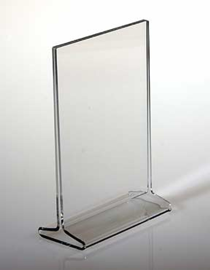 """Top Loading """"T"""" Sign Holders are sturdy and quality made of 1/8"""" (3mm) acrylic. Display signage in two directions for more impact."""