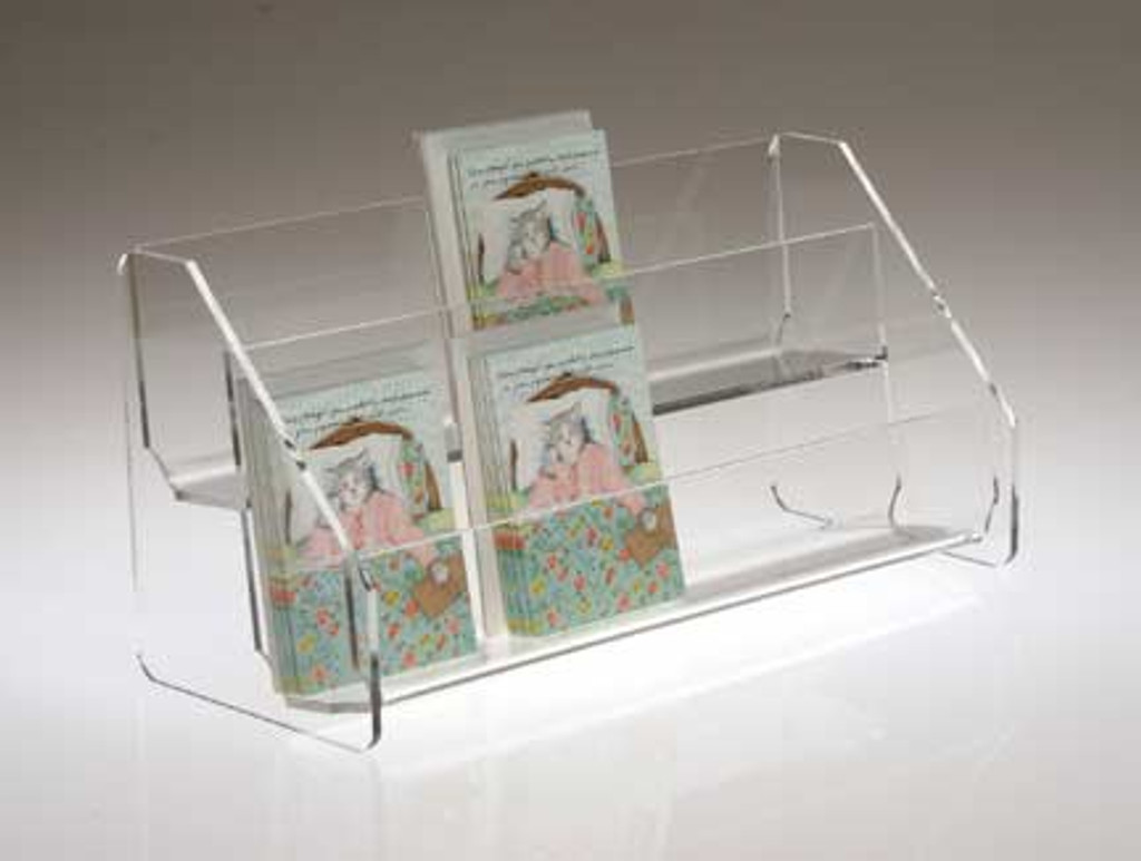 Heavy clear acrylic rack with two shelves for countertop.
