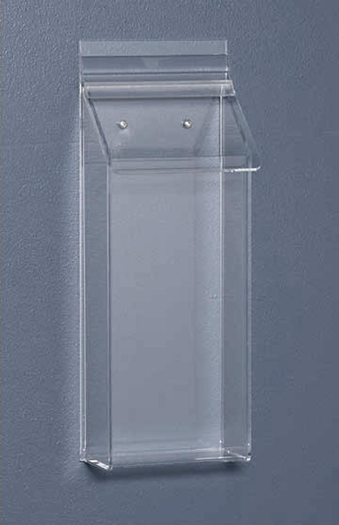 Clear acrylic letter sized brochure holder for slatwall.