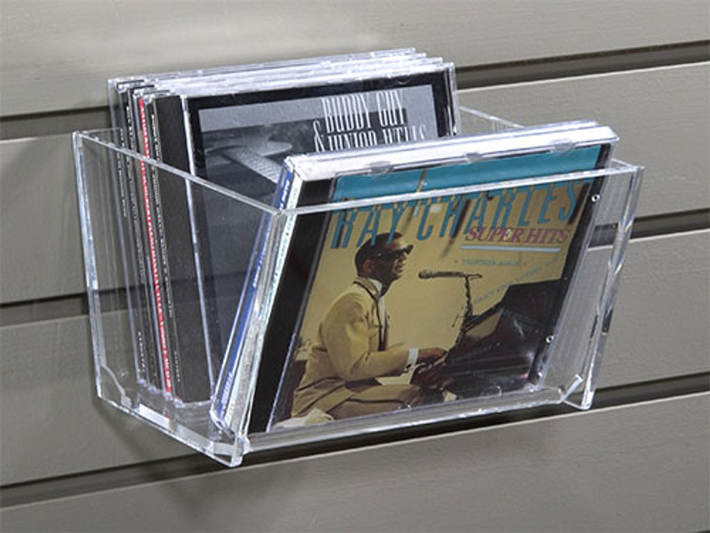 Clear acrylic bin for slatwall- perfect for displaying CD, DVDs, and other merchandise.