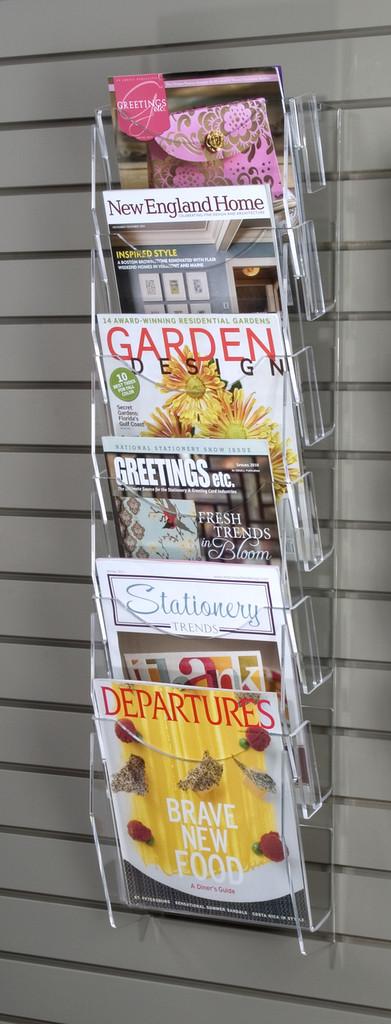 Clear acrylic magazine ladder for slatwall.