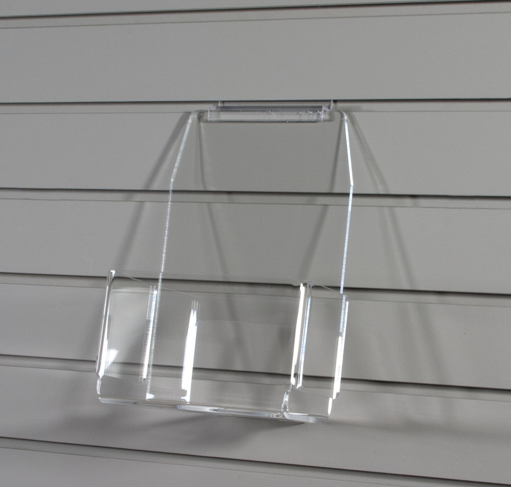 Clear acrylic slatwall bins for various items, sized for spinners or slatwalls.